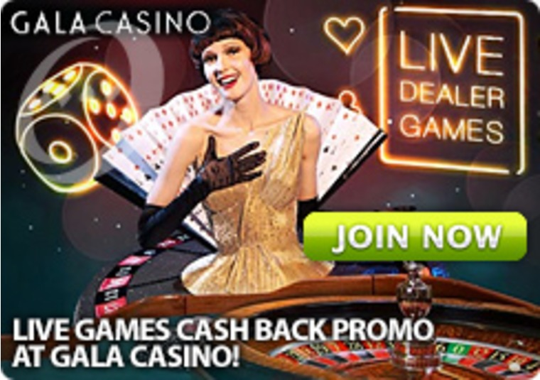 Live Games Cash Back Promo at Gala Casino