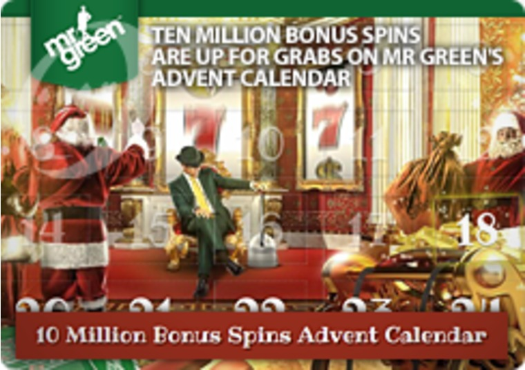 Ten million bonus spins are up for grabs on Mr Green's advent calendar