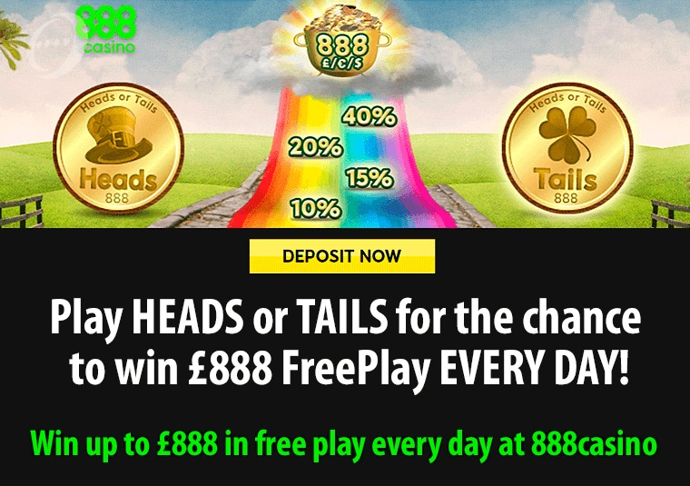 Win up to £888 in free play every day at 888casino