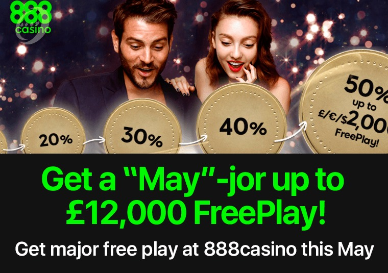 Get major free play at 888casino this May