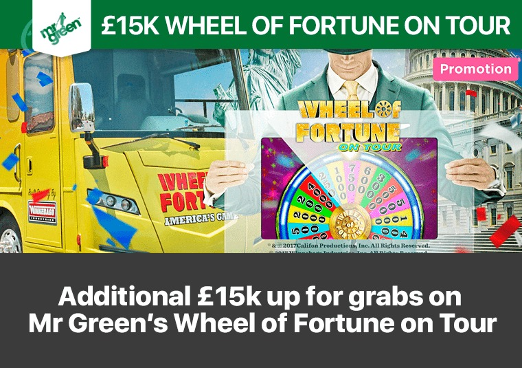 Additional £15k up for grabs on Mr Green's Wheel of Fortune on Tour