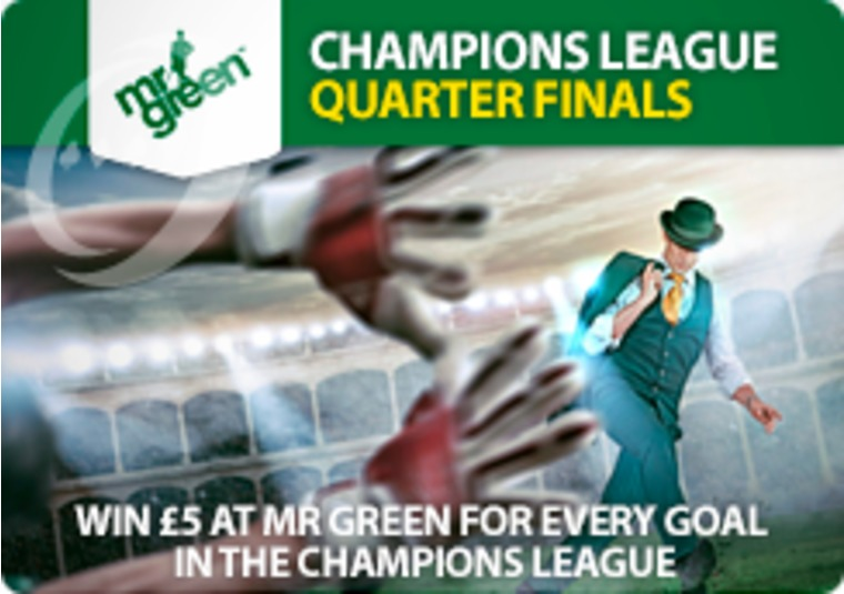 Win £5 at Mr Green for every goal in the Champions League