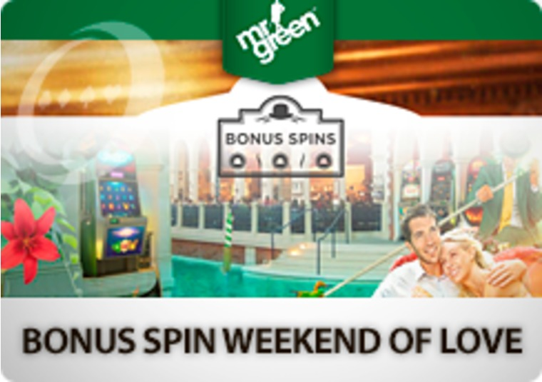 Get up to 100 bonus spins in Mr Green's weekend of love