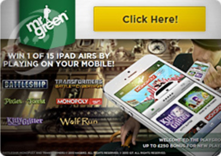 Go Mobile at Mr Green iPads Are Up for Grabs
