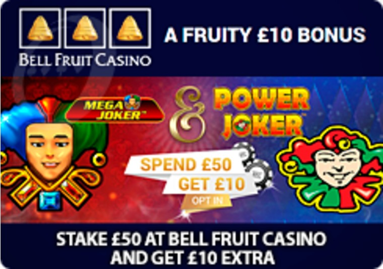 Stake £50 at Bell Fruit Casino and get £10 extra