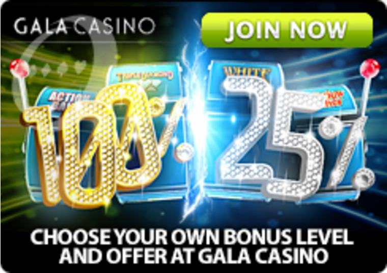 Choose your own bonus level and offer at Gala Casino
