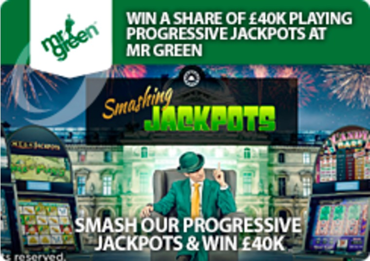 Win a share of £40k playing progressive jackpots at Mr Green