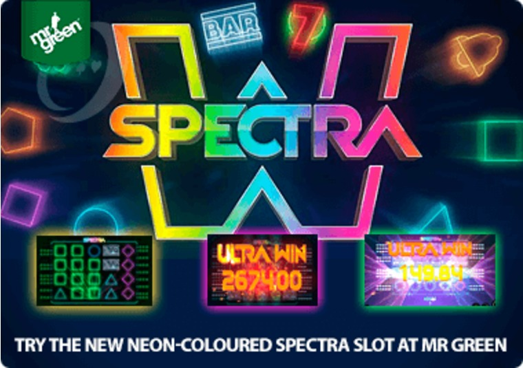 Try the new neon-coloured Spectra slot at Mr Green