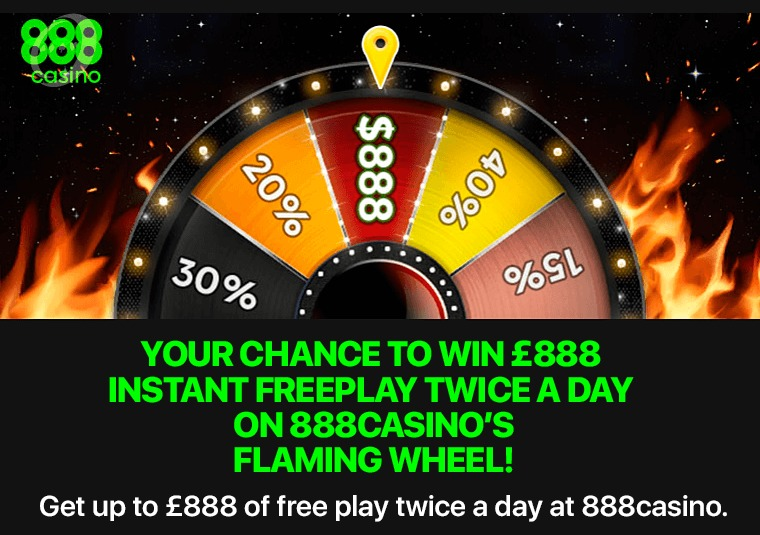 Get up to £888 of free play twice a day at 888 casino