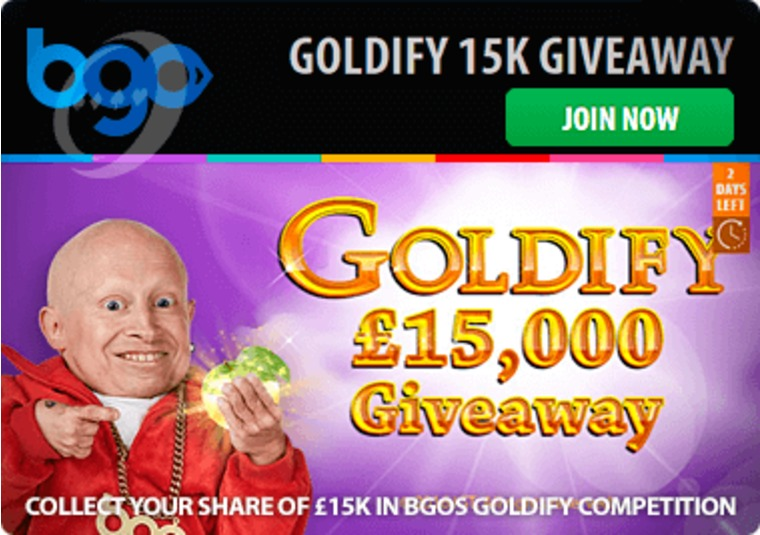 Collect your share of £15k in bgo's Goldify competition