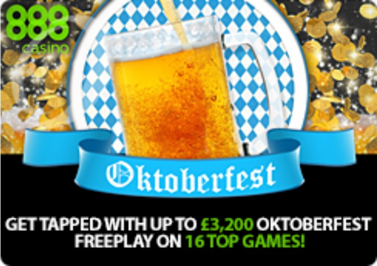 Get up to £3,200 in free play in 888casino's Oktoberfest extravaganza