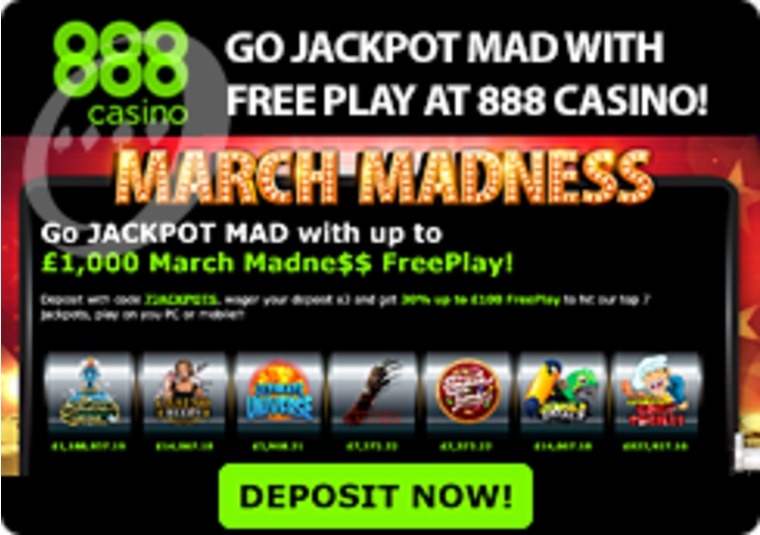 Go Jackpot Mad with Free Play at 888 Casino