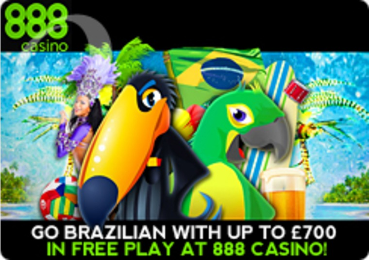 Go Brazilian with up to £700 in Free Play at 888 Casino