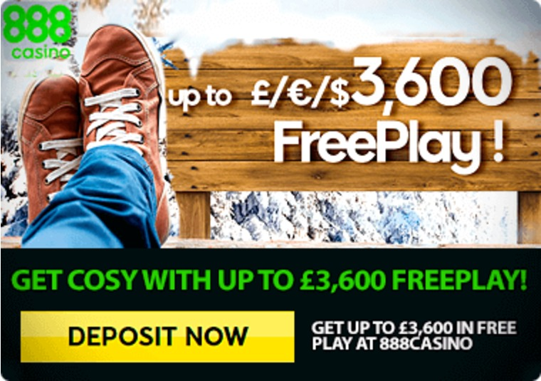 Get up to £3,600 in free play at 888casino