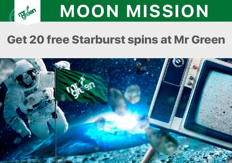Get 20 free Starburst spins at Mr Green