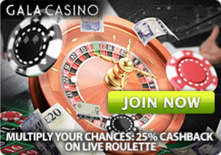 Improve your Live Roulette odds at Gala Casino with 25% cashback