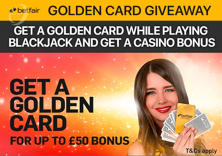 Get a golden card while playing Blackjack and get a casino bonus
